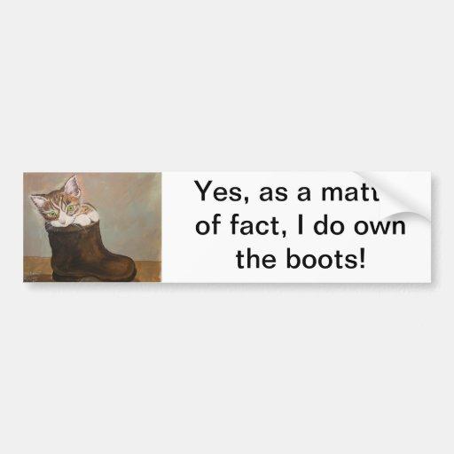 "Kitten in a Boot ""Fur Lining"" Bumper Stickers"
