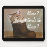 """Kitten in a Boot """"Fur Lining"""" Mouse Pads"""