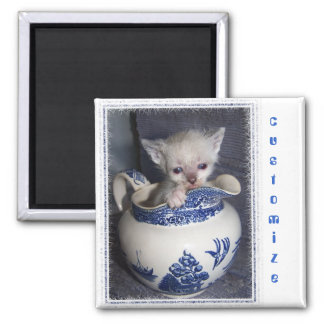 Kitten in a Pitcher Square Magnet