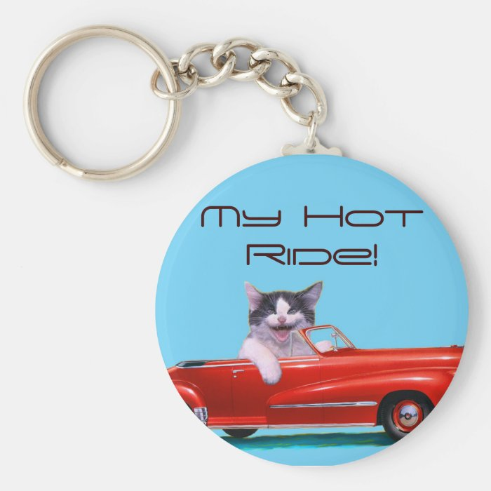 Kitten in a Red Convertible Keychain