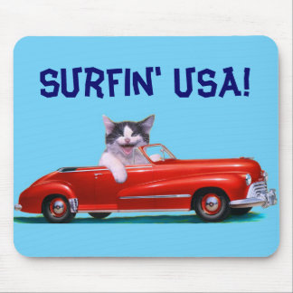 Kitten in a Red Convertible Mouse Pad