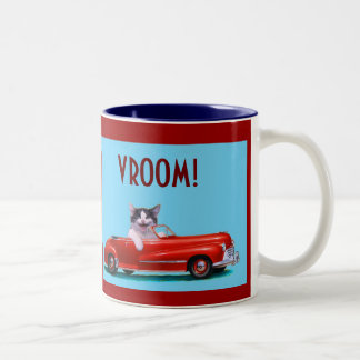 Kitten in a Red Convertible Two-Tone Coffee Mug