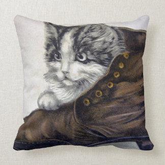 Kitten in a Shoe Throw Pillow