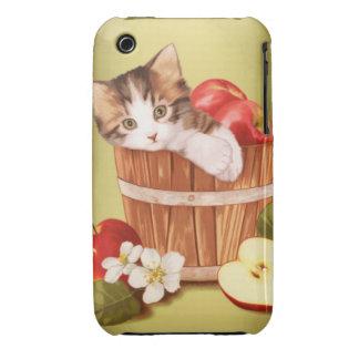 Kitten in apple bucket iPhone 3 Case-Mate cases