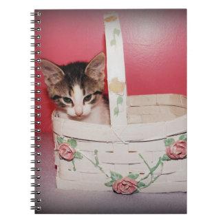 Kitten in basket Notebook