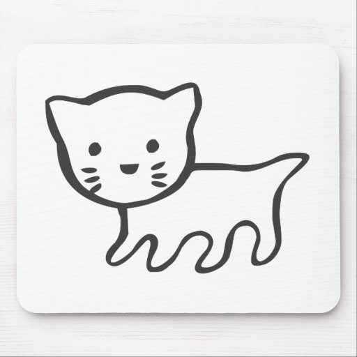 Kitten in Black and White Sketch Mousepads
