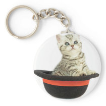 Kitten in black hat keychain