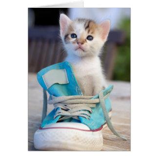 Kitten In Blue Shoe Card