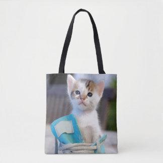 Kitten In Blue Shoe Tote Bag