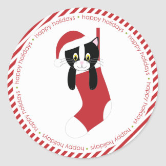 Kitten in Christmas Stocking Round Sticker