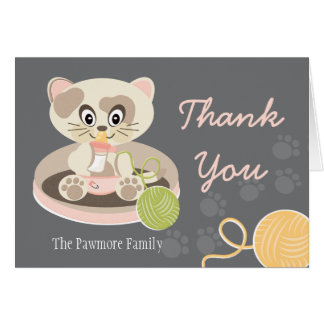 Kitten in Diapers Baby Shower Thank You Card