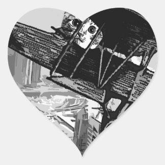 kitten in filght heart sticker