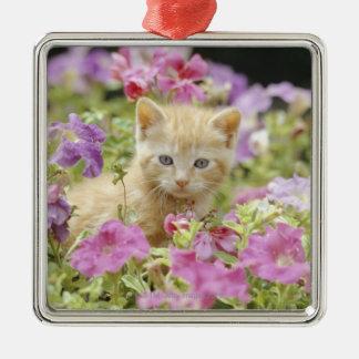 Kitten in flowers metal ornament