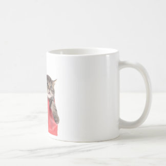 kitten in has bag red coffee mug