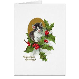Kitten in Holly Vintage Christmas (H.SandyRelief) Card