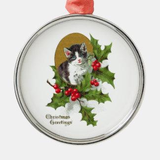 Kitten in Holly Vintage Christmas (H.SandyRelief) Metal Ornament