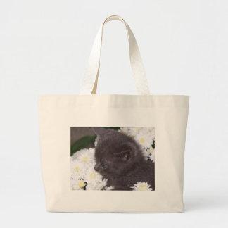 Kitten in mums Handbag Large Tote Bag