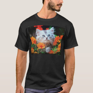 kitten in orange flowers T-Shirt