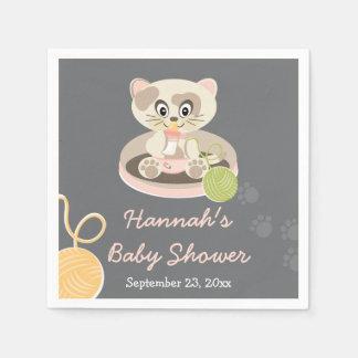 Kitten in Pink Diapers Baby Shower Standard Cocktail Napkin