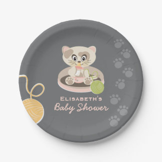 Kitten in Pink Diapers Baby Shower Paper Plate