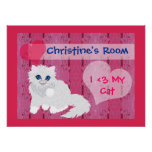 Kitten in pink room, poster