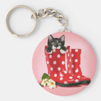 Kitten in Rainboots Keychain