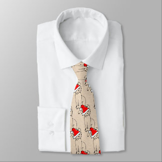 Kitten in Santa Hat - Fun Cartoon Sketch Christmas Neck Tie