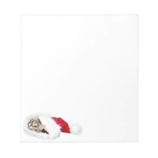 Kitten in santa hat notepad