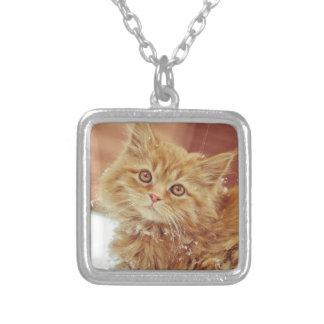 Kitten in Snow Square Pendant Necklace