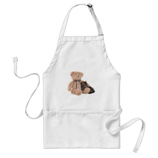 kitten in the arms of a teddy bear delantal
