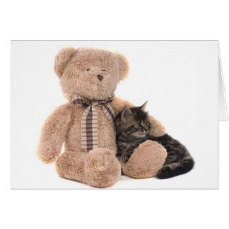 kitten in the arms of a teddy bear tarjeta de felicitación