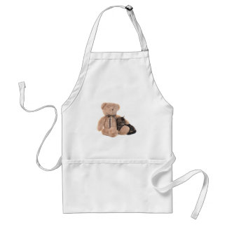kitten in the arms off has teddy bear adult apron