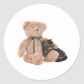kitten in the arms off has teddy bear classic round sticker