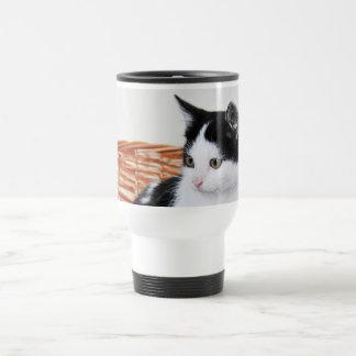 Kitten in the basket travel mug