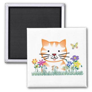 Kitten in the Garden 2 Inch Square Magnet