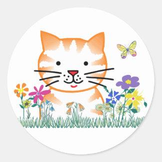 Kitten in the Garden Classic Round Sticker
