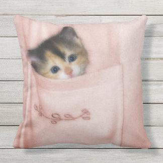 Kitten in the Pocket 2 Outdoor Pillow