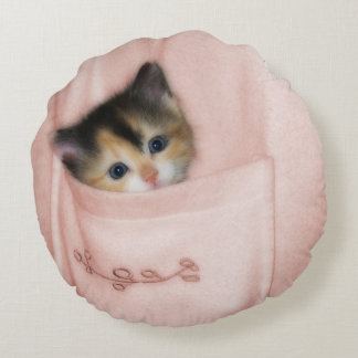 Kitten in the Pocket 2 Round Pillow