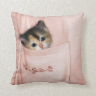 Kitten in the Pocket 2 Throw Pillow