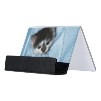 Kitten in the Pocket Desk Business Card Holder