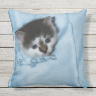 Kitten in the Pocket Outdoor Pillow