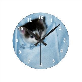 Kitten in the Pocket Round Clock