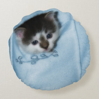 Kitten in the Pocket Round Pillow