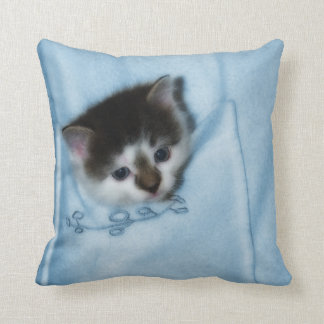 Kitten in the Pocket Throw Pillow