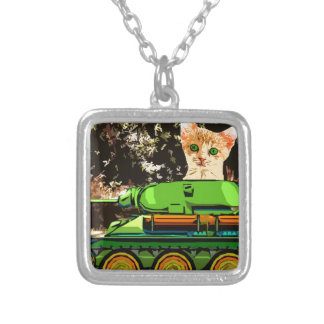 Kitten in the tank silver plated necklace