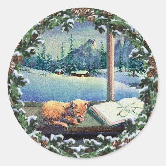 KITTEN in the WINDOW & WREATH by SHARON SHARPE Classic Round Sticker