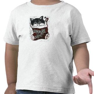 Kitten inside  Christmas Stocking, Block Print Shirt