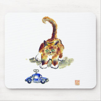"""Kitten is Deciding To Pounce or Not To""""calico kitt Mouse Pad"""