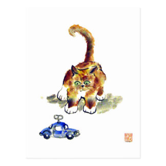 """Kitten is Deciding To Pounce or Not To""""calico kitt Postcard"""