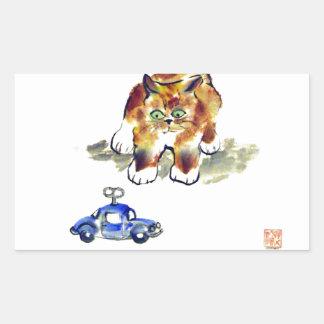 "Kitten is Deciding To Pounce or Not To""calico kitt Rectangular Sticker"